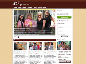 Screenshot of home page from www.sponsorsinc.org