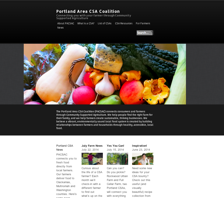 Portland CSA home page after the 2014 redesign