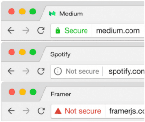 Preview of how Chrome will be displaying security status in browsers for secure and insecure content